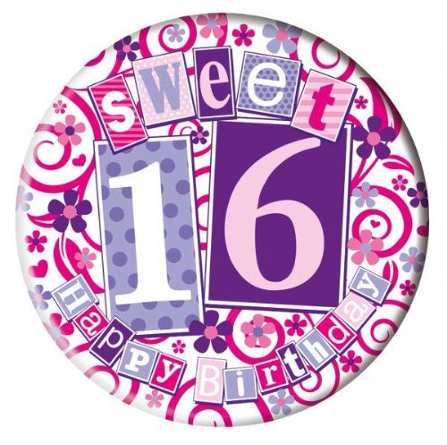 Badge 5cm Happy Birthday Age 16 Female